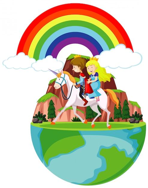 Prinz und prinzessin reiten auf pferd um den berg Kostenlosen Vektoren