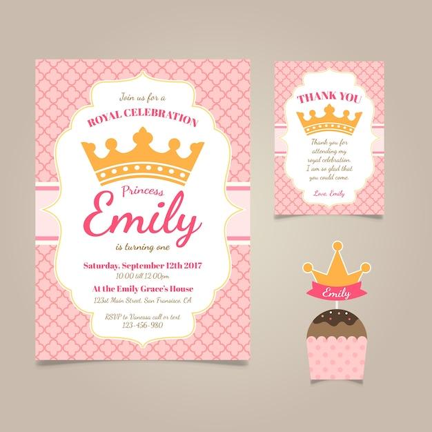 Prinzessin-Geburtstags-Einladung Kostenlose Vektoren