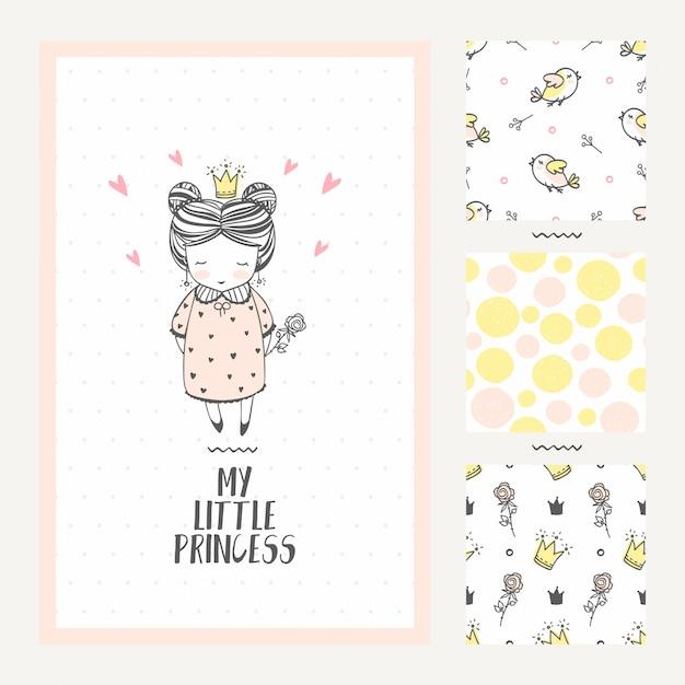 Prinzessin girl greeting card und drei nahtlose muster Premium Vektoren
