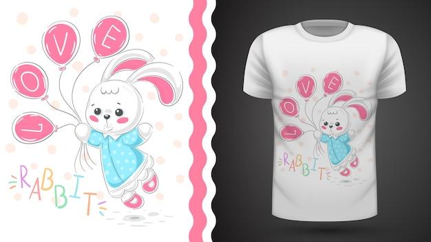 Prinzessin hase - idee für print-t-shirt Premium Vektoren
