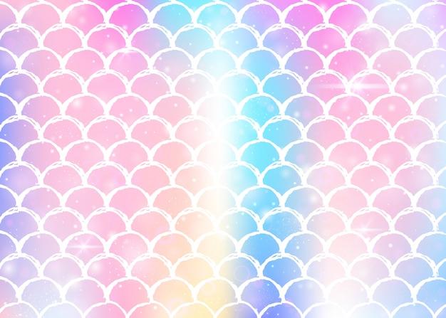 Prinzessin meerjungfrau hintergrund mit kawaii regenbogen skaliert muster. Premium Vektoren