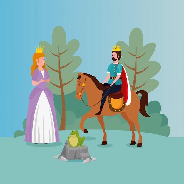 Prinzessin mit könig und kröte im szenenmärchen Kostenlosen Vektoren