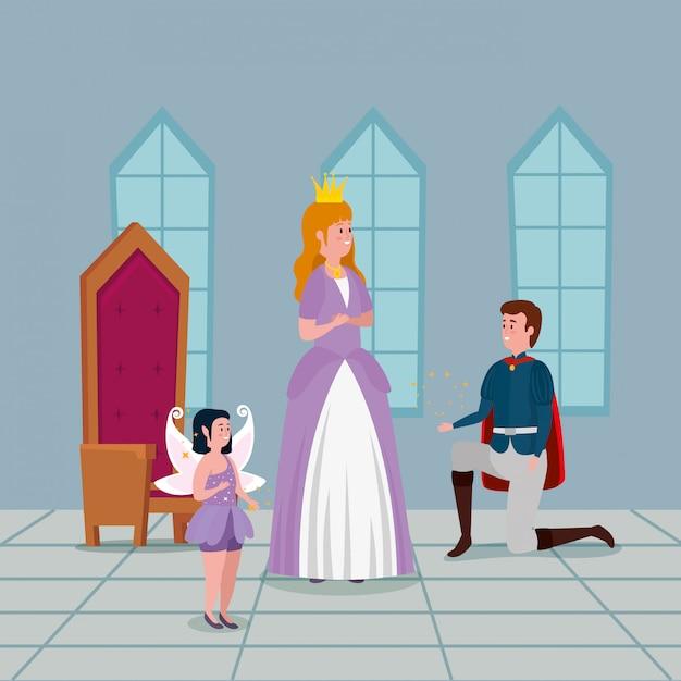 Prinzessin mit prinz im innenschloss Kostenlosen Vektoren