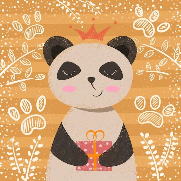 Prinzessin niedliche pandazeichentrickfigur Premium Vektoren