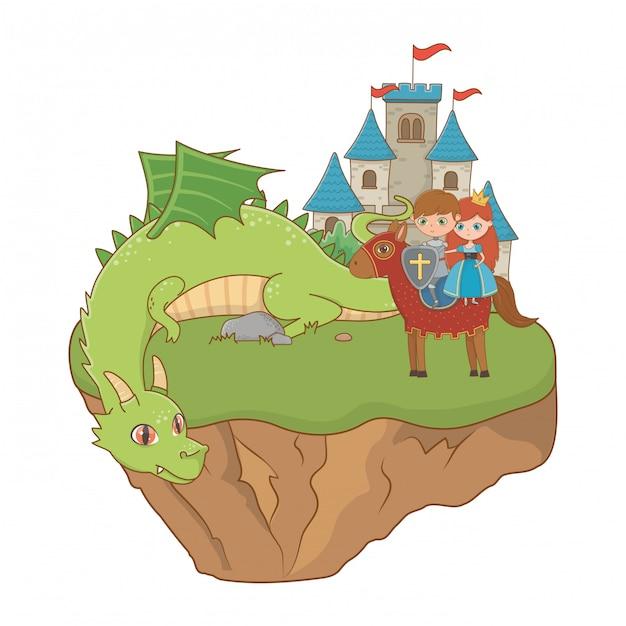 Prinzessin ritter und drache der märchenillustration Premium Vektoren