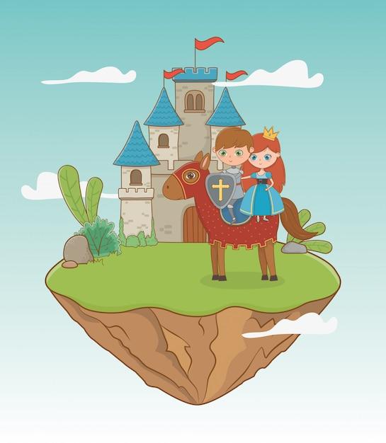 Prinzessin ritter und pferd von märchen-design Premium Vektoren