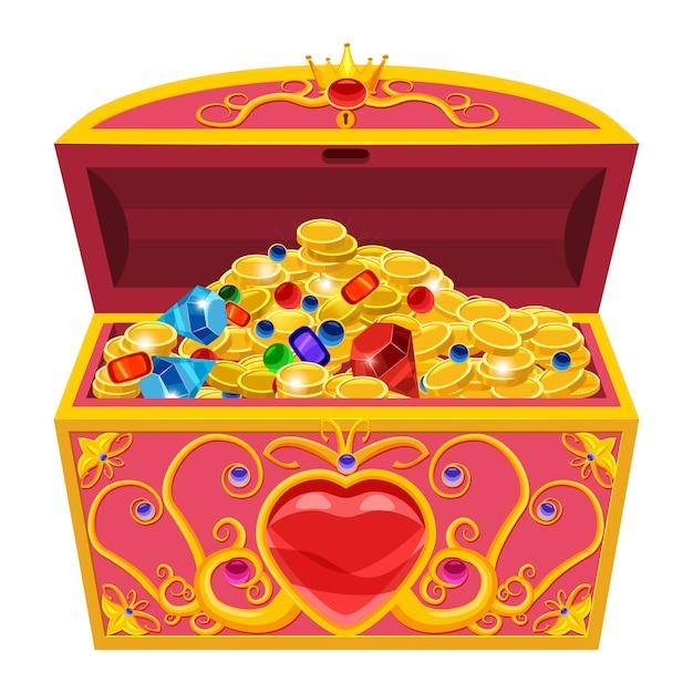 Prinzessin schatztruhe, mit diamanten und gold im cartoon-stil verziert Premium Vektoren