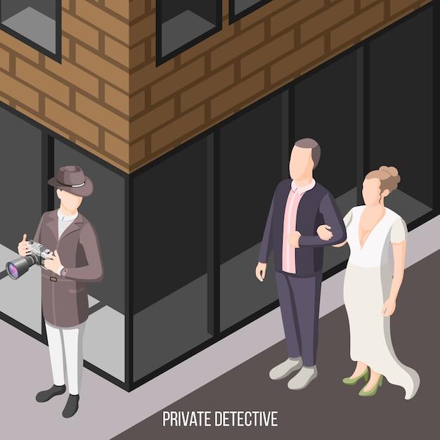 Privatdetektiv wartet auf der straße Kostenlosen Vektoren