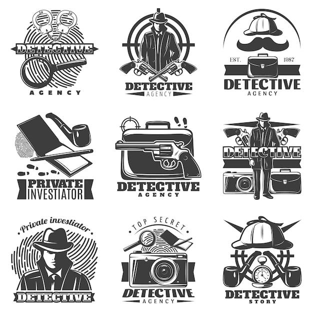 Private investigator logo set Kostenlosen Vektoren