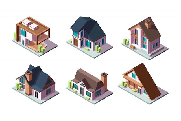 Privates haus. moderne wohngebäude niedrige polykonstruktionen isometrische sammlung Premium Vektoren