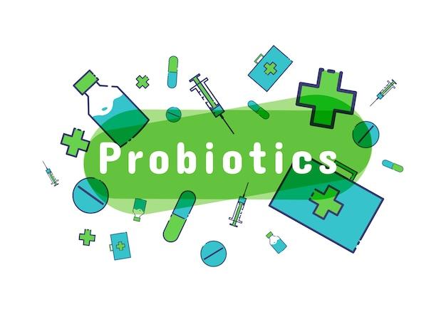 Probiotika bakterien-logo. präbiotikum, lactobacillus-symbol. Premium Vektoren