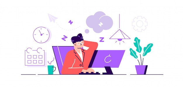 Problem mit der arbeitseinstellung bei erschöpfter und müder arbeit. mitarbeiter mit schläfriger stimmung mit neutralem gesichtsausdruck und gesichtsgefühlen. Premium Vektoren