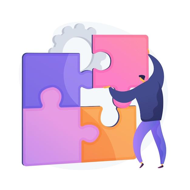 Probleme lösen. kreative entscheidung, schwierige aufgabe, querdenken. mann, der puzzle-zeichentrickfigur zusammenstellt. richtige wahl, fehlender artikel. vektor isolierte konzeptmetapherillustration Kostenlosen Vektoren