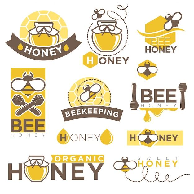 Produkt-ikonenschablonen des honigs imkerei eingestellt Premium Vektoren