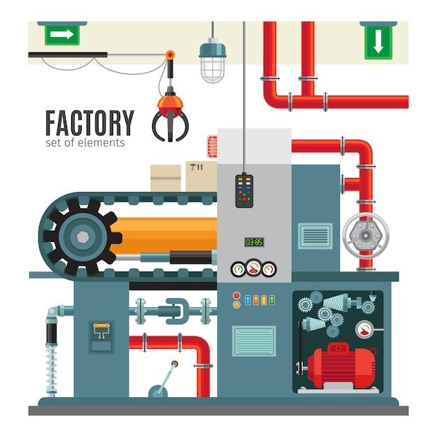 Produktionsförderer im flachen stil Premium Vektoren