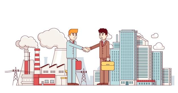 Produktionsgeschäft und stadtpartnerschaft Kostenlosen Vektoren