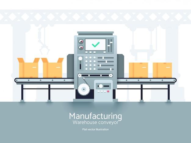Produktionslagerförderer. flaches industrielles konzept der montagefertigungsstraße Premium Vektoren