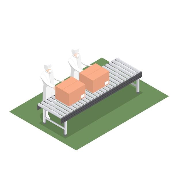 Produktionslinie für produktverpackungen in der lebensmittelindustrie mit förderband Premium Vektoren