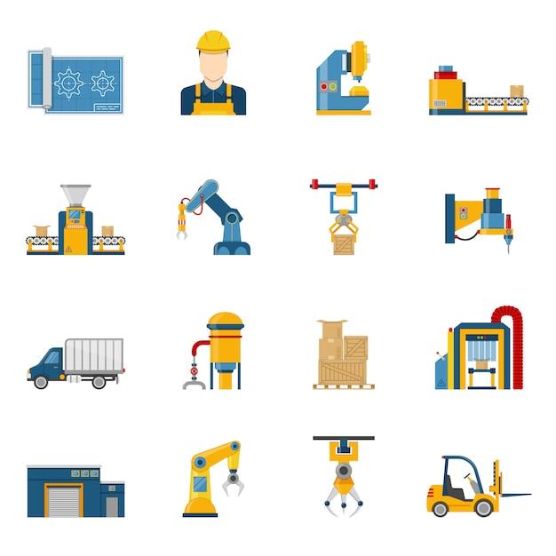 Produktionslinie icons isoliert Kostenlosen Vektoren