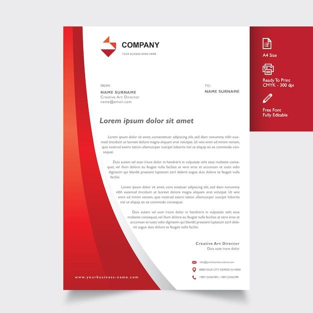 Professional Briefkopf Vorlage Mit Form Rot Auf Farbe Download Der