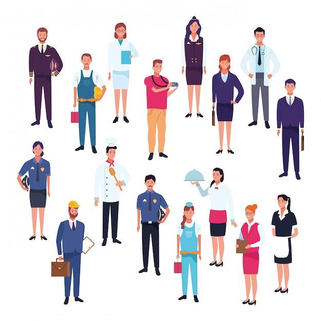 Professionelle arbeiter arbeitstag cartoons Premium Vektoren