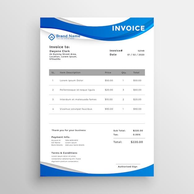 Professionelle blaue wellenförmige stil rechnungsvorlage Kostenlosen Vektoren