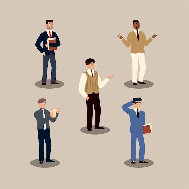 Professionelle charaktere der geschäftsleute-geschäftsleute stellen illustration ein Premium Vektoren