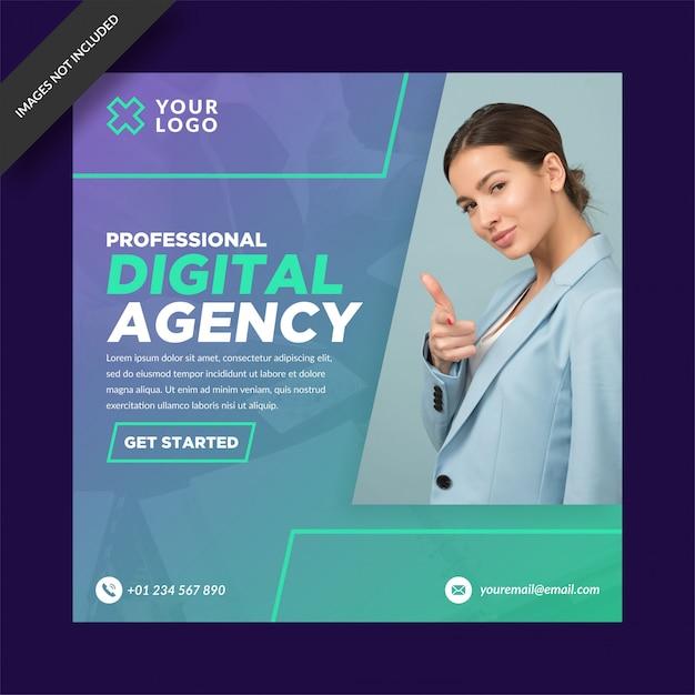 Professionelle digitale agentur instagram post Premium Vektoren