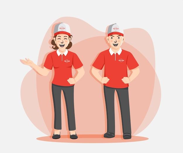 Professionelle fast-food-arbeiter Premium Vektoren