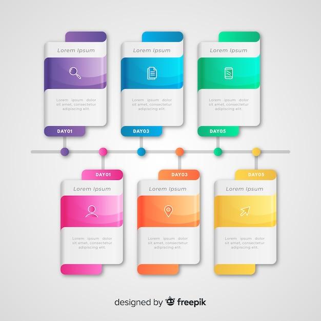 Professionelle infografik farbverlauf timeline Kostenlosen Vektoren