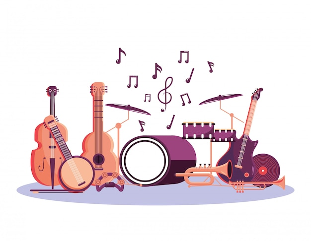 Professionelle instrumente zur musikfestivalfeier Premium Vektoren