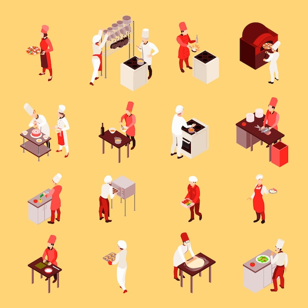 Professionelle kochende isometrische ikonen mit personal während der arbeit mit kulinarischen werkzeugen auf dem beige lokalisierten hintergrund Kostenlosen Vektoren