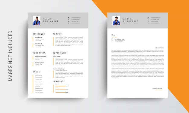 Professionelle lebenslauf design vorlage design und briefkopf, anschreiben, vorlage bewerbungen Premium Vektoren