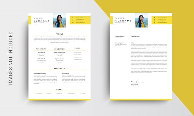 Professionelle lebenslauf vorlage vorlage und briefkopf, anschreiben, vorlage bewerbungen, gelb Premium Vektoren