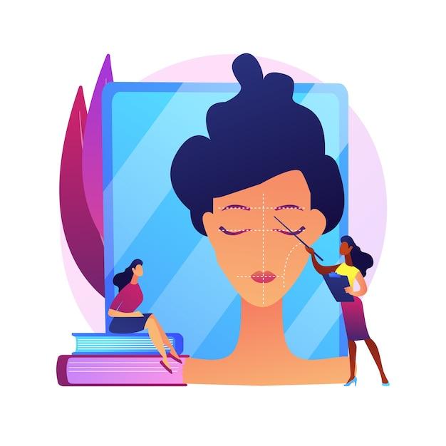 Professionelle make-up-kurse. schönheitssalon-workshop, visage-tutorial, kosmetikkurs. maskenbildner lehrpraktikant, beratender student. Kostenlosen Vektoren