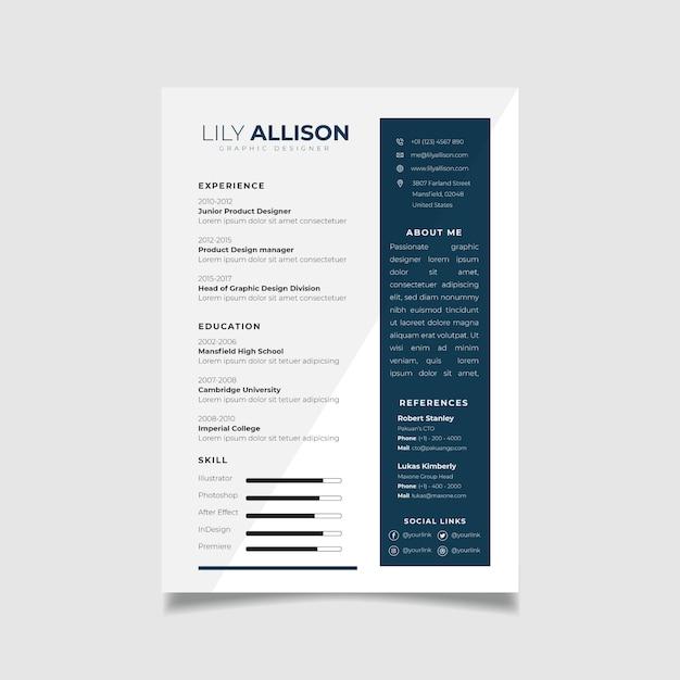 Professionelle resume-design-vorlage mit minimalistischem stil Premium Vektoren