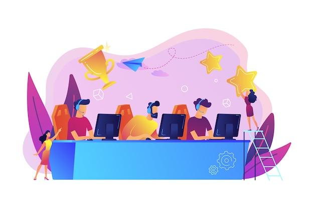 Professionelle spieler am tisch, die an e-sport-wettbewerben und trophäen teilnehmen. e-sport-turnier, offizielles spielereignis, e-sport-meisterschaftskonzept. Kostenlosen Vektoren