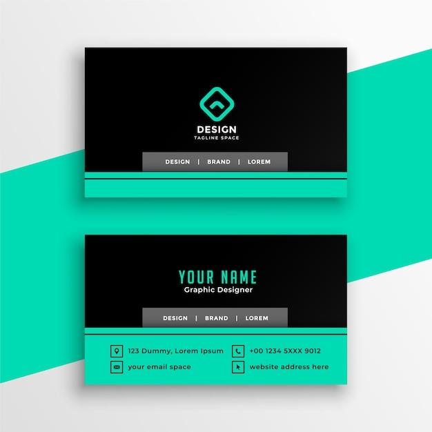 Professionelle visitenkarten-designvorlage in türkis und schwarz Kostenlosen Vektoren