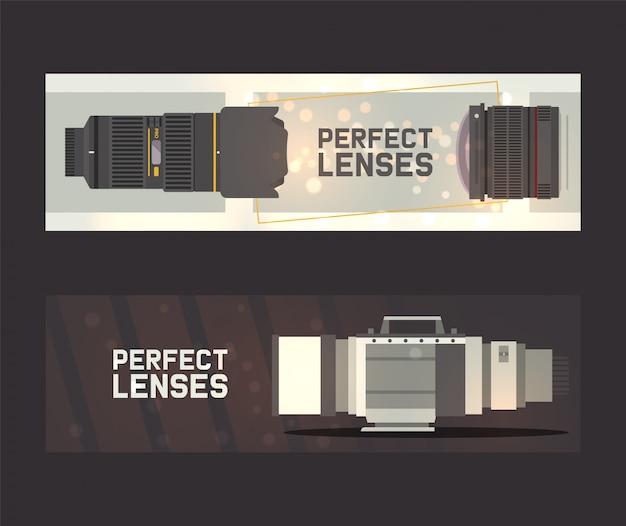 Professionelle zoom-fotoobjektive und zubehör für kamera-banner. fotograf zubehör und ausrüstung. Premium Vektoren