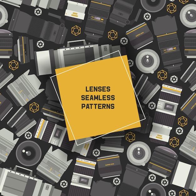 Professionelle zoom-fotoobjektive und zubehör für nahtlose kamera-muster Premium Vektoren