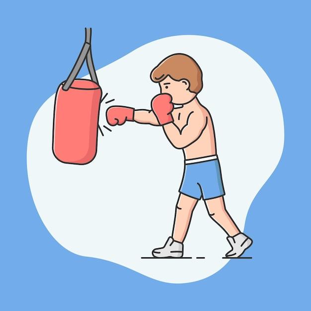 Professioneller aktiver sport, sportwettkämpfe und ein gesundes lebensstilkonzept. junger fröhlicher junge boxt. männlicher charater kicking boxsack. cartoon linear outline flat style. vektor-illustration. Premium Vektoren