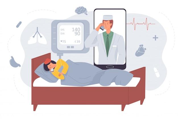 Professioneller arzt, der kranke patienten online berät Premium Vektoren