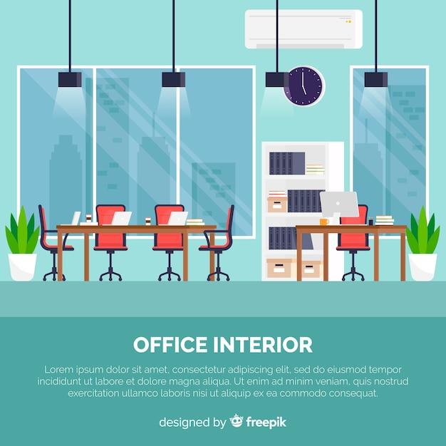 Professioneller büroinnenraum mit flachem design Kostenlosen Vektoren