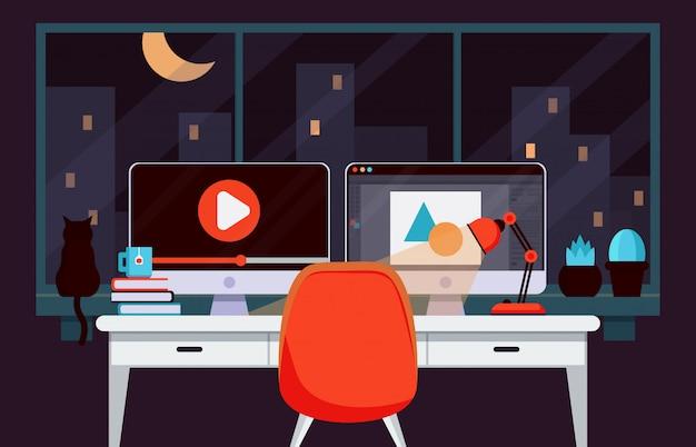 Professioneller heimarbeitsplatz für grafikdesign Premium Vektoren