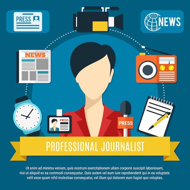 Professioneller journalistenhintergrund mit flachen symbolen der nachrichtensprecherincharakterpresse-mikrofon-radioempfänger Kostenlosen Vektoren