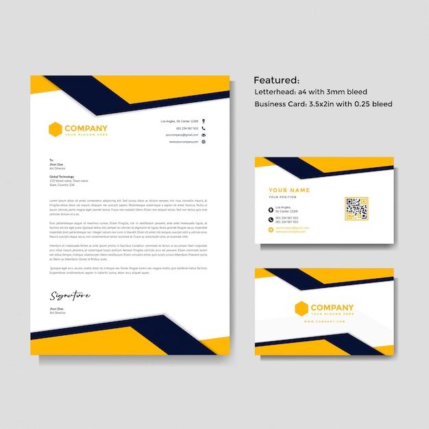 Professioneller kreativer briefkopf und visitenkarte Premium Vektoren