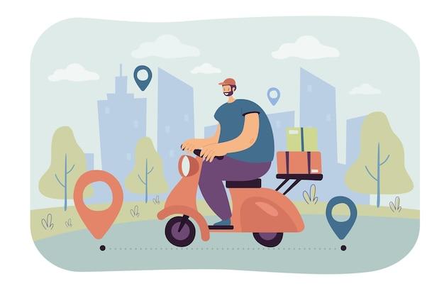 Professioneller kurier, der bestellung auf flacher abbildung des scooters liefert. Kostenlosen Vektoren
