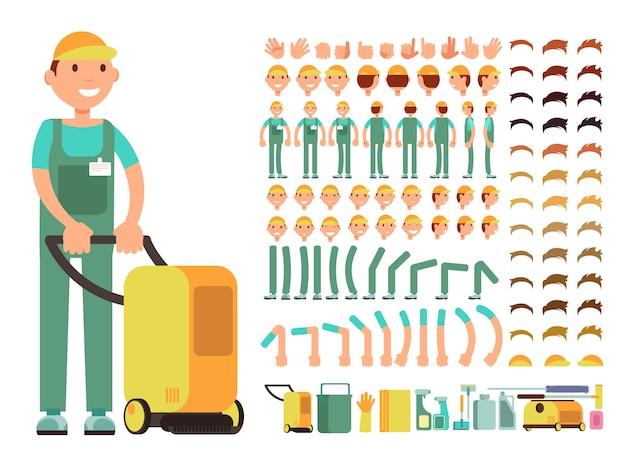 Professioneller mannreiniger in reinigungsservice-uniform Premium Vektoren