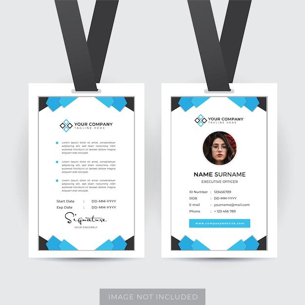 Professioneller mitarbeiter id card template vector Premium Vektoren