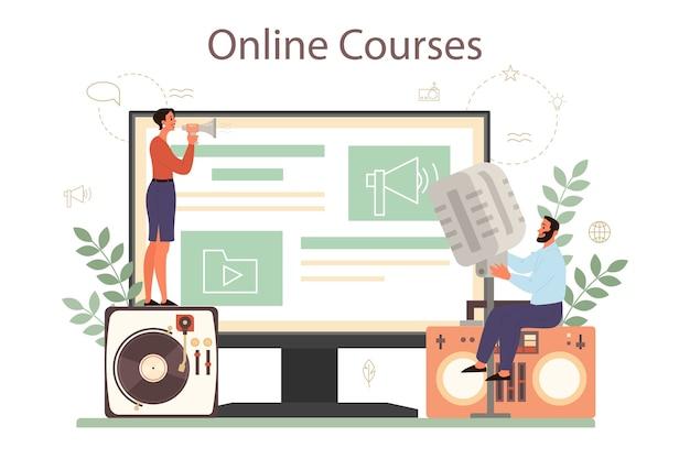 Professioneller online-dienst oder plattform für sprecher, kommentatoren oder sprecher. peson spricht mit einem mikrofon. online kurs. Premium Vektoren